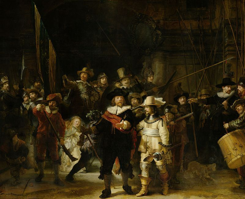 Rembrandt van Rijn, Schutters van wijk II onder leiding van kapitein Frans Banninck Cocq (De Nachtwacht), 1642, olieverf op doek, 379,5 x 453,5 cm, Rijksmuseum Amsterdam. Beeld: Wikipedia.
